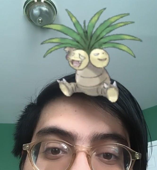 Photo de la moitié supérieure de la tête d'un homme aux cheveux noirs et aux yeux bruns. Une image du Pokémon Exeggutor est assise sur sa tête.